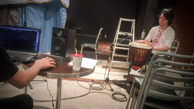 湯野川広美(ひぃたん@ジン)のレコーディングにジャンベで参加してきました。